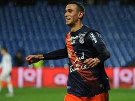 Monpelliers midfielder Ellyes Skhiri celebrates after scoring a goal during the French L1 football match between Montpellier and Lille at the Mosson stadium in Montpellier, southern France, on February 27, 2016
