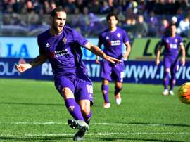 Mario Suarez scores during the Italian Serie A football match Fiorentina vs Frosinone at the Franchi stadium in Florence on November 1, 2015