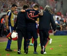 Lucas Hernández poderia ter afetado o ligamento do tornozelo direito. AFP