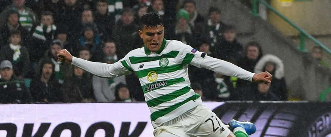 Elyounoussi's brace helped Celtic earn a comfortable victory over Hibs. AFP