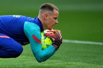Ter Stegen é a grande novidade do treino do Barça.AFP