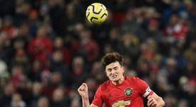 Maguire was frustrated with United's defence v Aston Villa. AFP