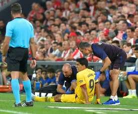 Suárez tem a mesma lesão que Messi. AFP