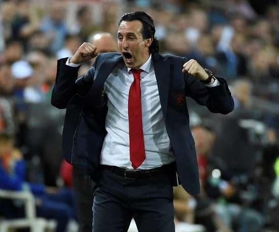 Unai Emery lors de sa première saison en tant qu'entraîneur à Arsenal. AFP