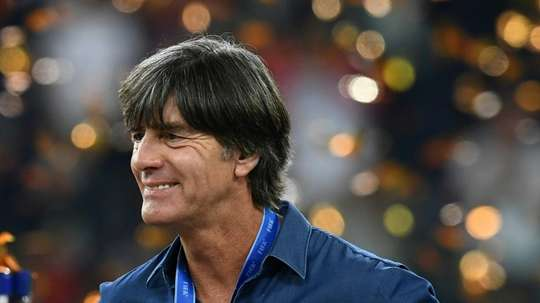 Germanys coach Joachim Loew reacts after Germany beat Chile in the Confederations Cup final