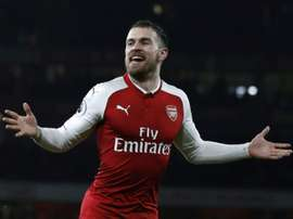 Ramsey scored a hat-trick against Everton. AFP
