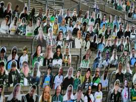 Cardboard cut outs have replaced fans at Gladbach's stadium. AFP