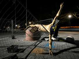 Ibrahimovic's statue will stay in Malmo despite being vandalised repeatedly. AFP