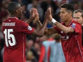 Liverpool forward Roberto Firmino (right) replaces Daniel Sturridge during the Champions League match against Paris Saint-Germain
