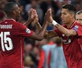 Liverpool forward Roberto Firmino (right) replaces Daniel Sturridge during the Champions League match against Paris Saint-Germain
