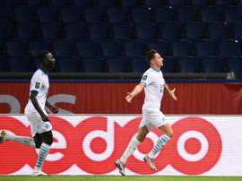 Florian Thauvin (R) gave Marseille victory at PSG. AFP