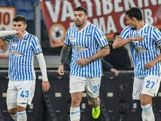 Andrea Petagna (C) has now netted in four straight matches for SPAL. AFP