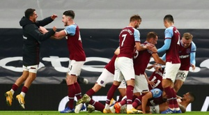A Manuel Lanzini screamer completed an incredible comeback for West Ham at Spurs. AFP