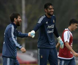 Sergio Romero says Argentina must fight without Messi against Brazil. AFP
