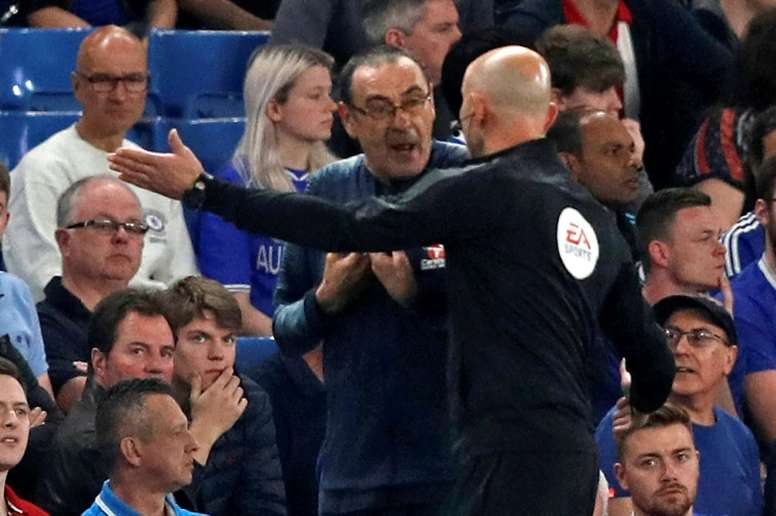 Maurizio Sarri was sent to the stands after venting his anger at a decision. AFP