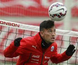 Chile player Charles Aranguiz takes part in a training session at the Juan Pinto Duran sport complex in Santiago, on July 1, 2015