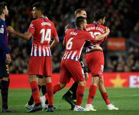Diego Costa was sent off for Atletico. AFP