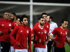 L'équipe nationale d'Égypte lors d'un entraînement avant un match de la CAN. AFP