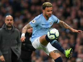 Kyle Walker (r) will be a Man City player until 2024. AFP