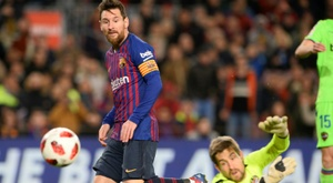 Lionel Messi scoring in Barcelonas Copa del Rey win over Levante on Thursday. AFP