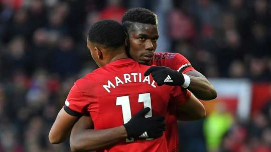 Martial and Pogba scored in their last game for United. AFP