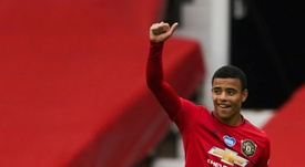 Mason Greenwood scored twice as Man Utd climbed into the top four. AFP
