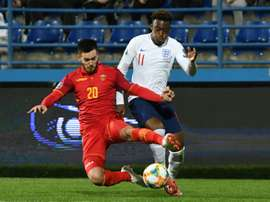 Callum Hudson-Odoi started his first England match aged just 18 against Montenegro. AFP