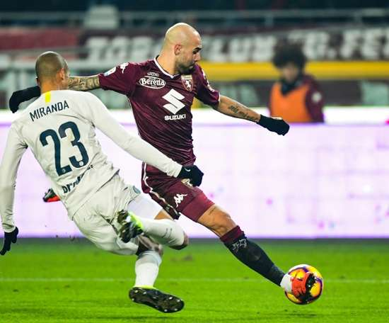 Simone Zaza sxored beofre being sent off in Turin. AFP