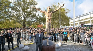 Ibrahimovic unveils larger than life statue in hometown. AFP