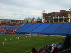 A general view of a Major League Soccer game taking place at Toyota Stadium in Frisco, Texas