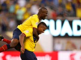 Ecuadors Antonio Valencia (R) celebrates with teammate Enner Valencia after scoring against Haiti during their Copa America Centenario Group B match, in East Rutherford, New Jersey, on June 12, 2016