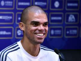 Real Madrids defender Pepe attends a press conference on the eve of the International Champions Cup football match between Inter Milan and Real Madrid in Guagnzhou on July 26, 2015