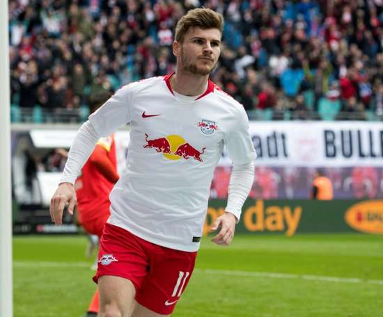 Timo Werner scored for Leipzig in the win over Wolfsburg. AFP