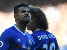 Chelsea striker Diego Costa celebrates after scoring against West Bromwich Albion. AFP