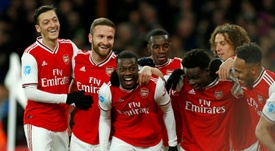 Nicolas Pepe (C) scored in Arsenal's victory over Newcastle. AFP