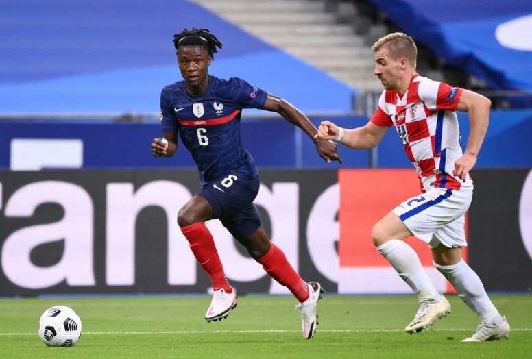 Eduardo Camavinga was very happy after making his France debut. AFP