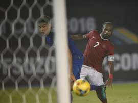 Indonesian player Boas has an attempt at goal against Thailand. AFP