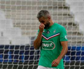 Loic Perrin's final game saw him get sent off after a foul on Mbappe. AFP