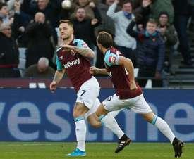 Marco Arnautovic scored West Ham's third goal against Everton. AFP