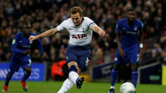 Harry Kane clinched his sides League Cup win over Chelsea. AFP