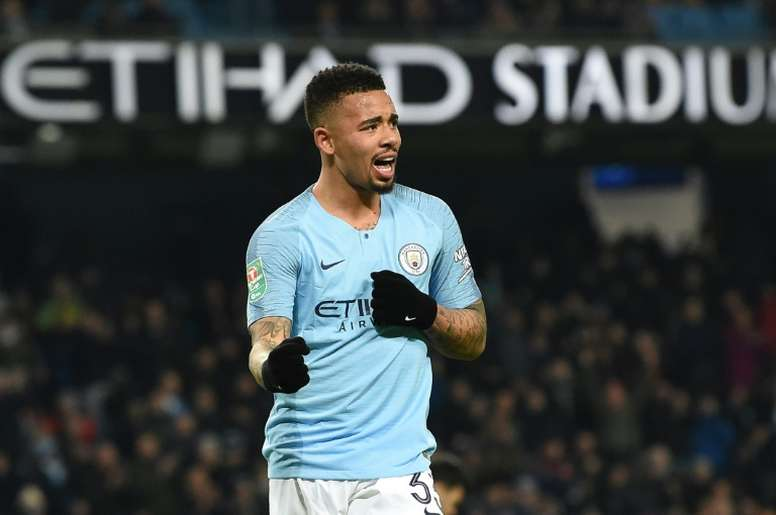 Jesus got four of City's nine goals on the night. AFP