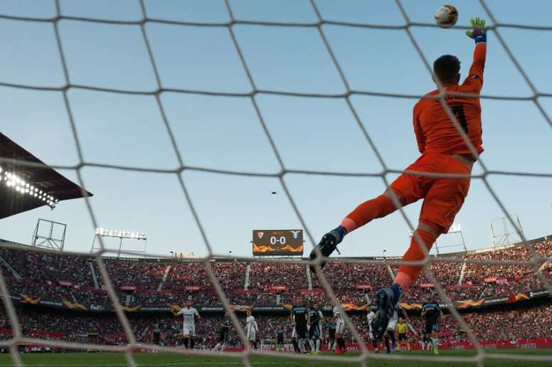 Sevilla keeper Vaclik in Europa League action. AFP