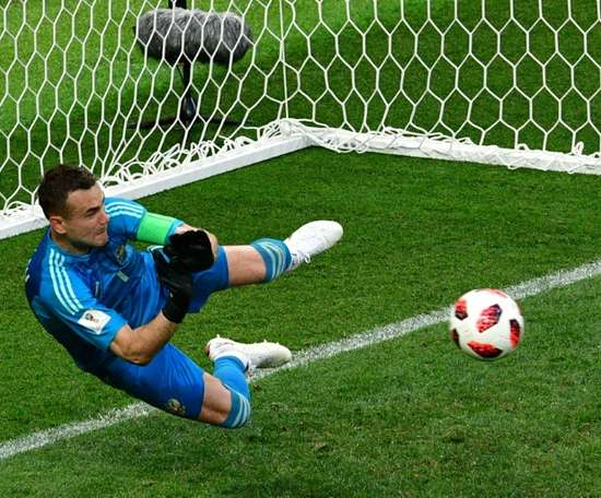Igor Akinfeev was key in Russia's World Cup run to the quarter-finals. AFP