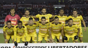 Trujillanos (pictured) suffered a 2-1 defeat at Monagas on Sunday and afterwards six gunmen with high-caliber weapons forced their bus to stop around dawn on a stretch of highway