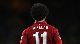 Salah: mesmo números de partidas, 15 gols a menos. AFP