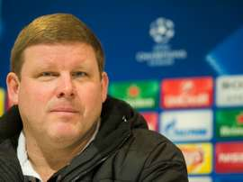 Ghents head coach Hein Vanhaezebrouck attends a press conference on the eve of their last 16, first-leg UEFA Champions League football match against Vfl Wolsfsburg, on February 16, 2016 in Ghent