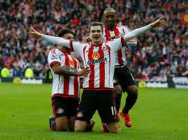 Sunderland midfielder Adam Johnson celebrates a goal against Newcastle United on October 25, 2015