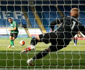 Kasper Schmeichel stopped Neal Maupay's penalty. AFP