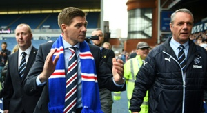 Steven Gerrard's Rangers won the first leg 3-1. AFP