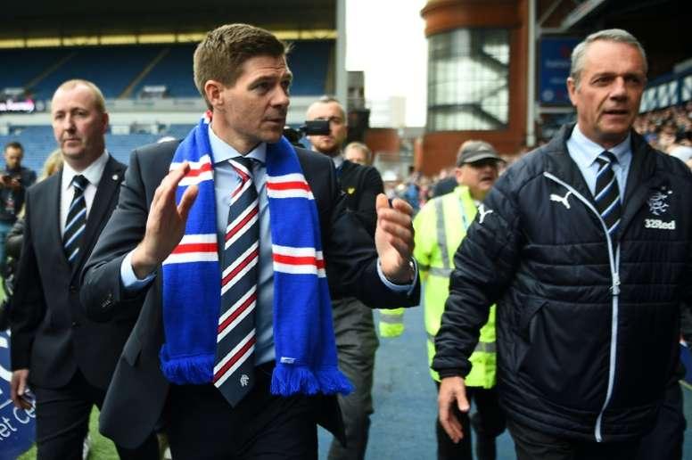 Steven Gerrard's Rangers won the first leg 3-1. AFP